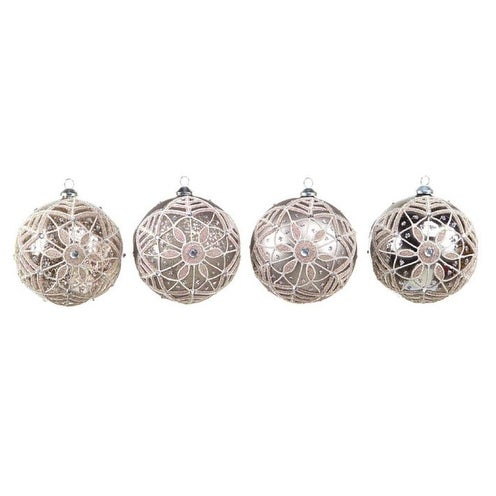 """Set of 4 Neutral Warmth Silver/Sequin/Glitter Glass Ball Christmas Ornaments 5"""""""