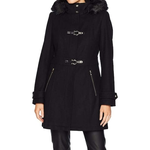 Ivanka Trump Womens Coat Night Hooded Buckle-Detail