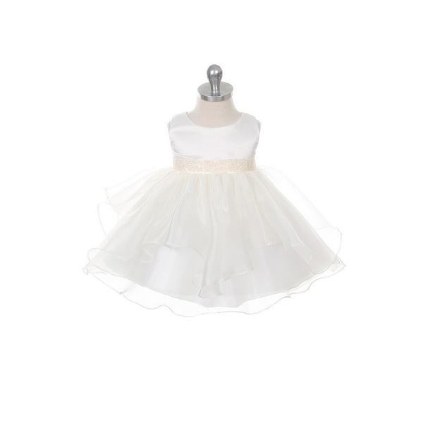 Chic Baby Ivory Organza Ruffle Special Occasion Dress Baby Girl
