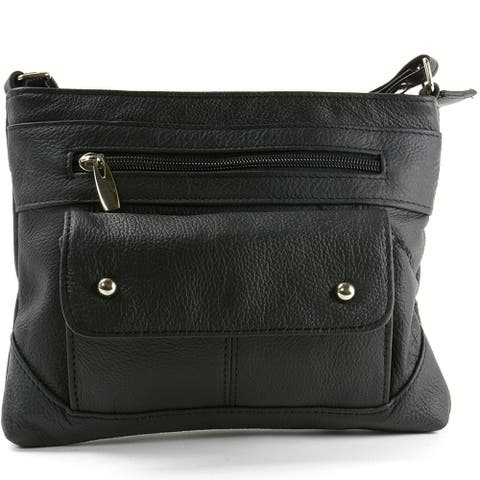 SBR Designs Women's Leather Cross Body Organizer Bag - One Size