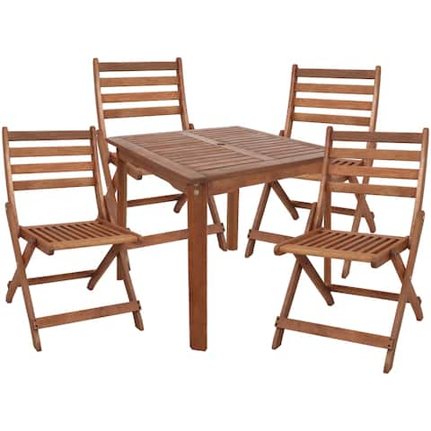 Sunnydaze 5-Piece Meranti Wood Square Dining Table with Folding Chairs