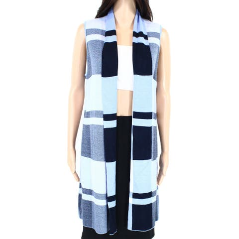 Leo & Nicole Womens Sweater Blue Size Small S Knit Open-Front Plaid Vest