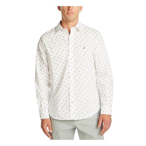 NAUTICA Mens White Printed Collared Classic Fit Dress Shirt XL