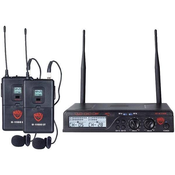 Nady U-2100 Lt/O (Band A/B) Uhf Dual 100-Channel Wireless Lavalier Handheld Microphone System