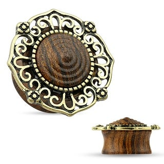 Antique Gold Plated Large Tribal Filigree Top Organic Wood Saddle Plug (Sold Ind.)