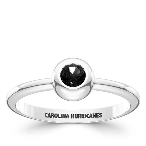 Carolina Hurricanes Engraved Sterling Silver Black Onyx Ring