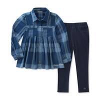 Calvin Klein Kids Girls 4-6X Plaid Tunic Denim Legging Set - Blue