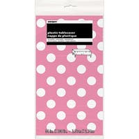 """Plastic Tablecover 54""""X108""""-Hot Pink Decorative Dots"""