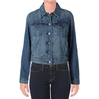 Levi's Womens Juniors Denim Jacket Distressed Non-Vented - M