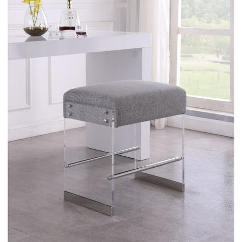 Somette Acrylic Counter Stool with Gray Fabric Seat - Counter Stool