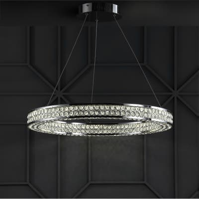 """Benton 24.7"""" Round Integrated LED Crystal/Metal Chandelier, Chrome/Clear by JONATHAN Y"""