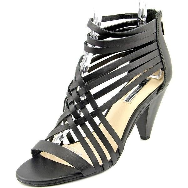 INC International Concepts Garoldd Women  Open Toe Leather Black Sandals