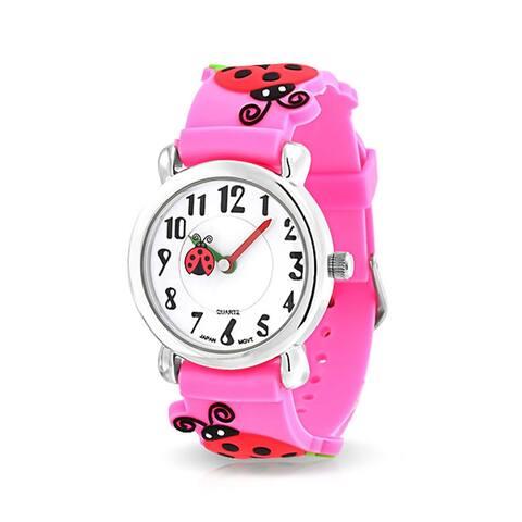 Good Luck Red Ladybug Waterproof Wrist Watch Time Teacher Quartz 3D Cartoon Pink Silicone Wristband Round White Dial