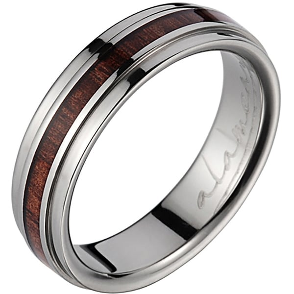 Titanium Wedding Band With Koa Wood Inlay & Step Edges 6 mm