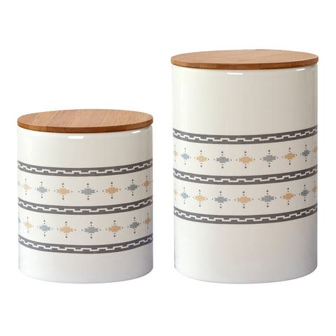 HiEnd Accents 2 PC Small Aztec Design Canister Set - N/A