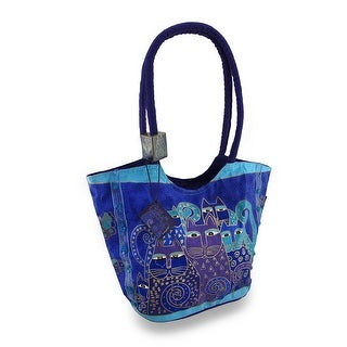 Laurel Burch Indigo Cats Large Scoop Tote Bag - Blue