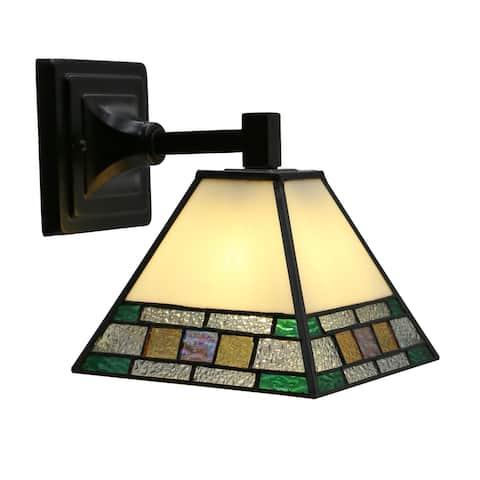 Havenside Home Nabire Multicolor Stained Glass Black Metal Light Fixture