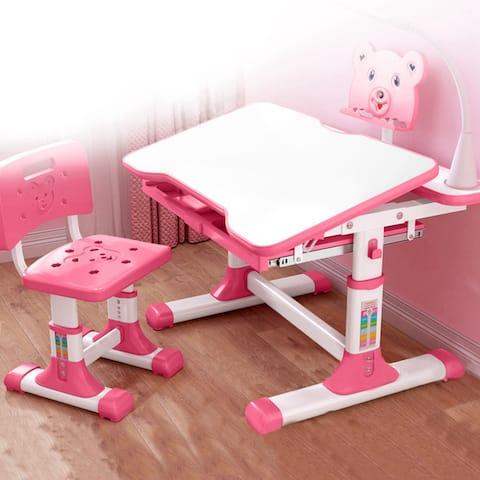 Height Adjustable Children's Desk And Chair Set LED Light