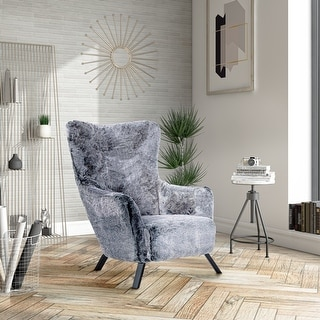 Link to Modrest Findon Glam Grey Faux Fur Accent Chair Similar Items in Accent Chairs