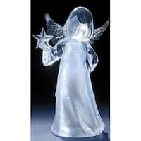 "11"" Icy Crystal Led Lighted Angel Holding a Star Christmas Figure - CLEAR"