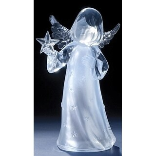 "11"" Icy Crystal Led Lighted Angel Holding a Star Christmas Figure"