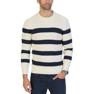 Nautica Mens Breton Crew Sweatshirt Ribbed Trim Crew Neck