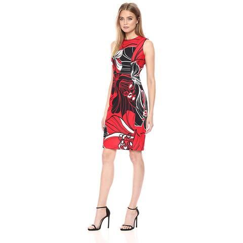 98ff9b15b0e4 Calvin Klein Women's Scuba Crepe Sleeveless Princess Seam Sheath Dress,  Fire Multi, 8
