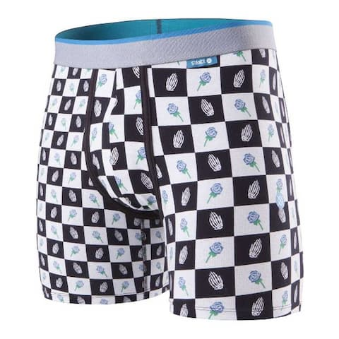 Stance Men's 7 inch Inseam Pray Checks Cotton Blend Boxer Brief - Black & White