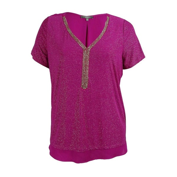 NY Collection Women's Studded Metallic V-Neck Blouse Top