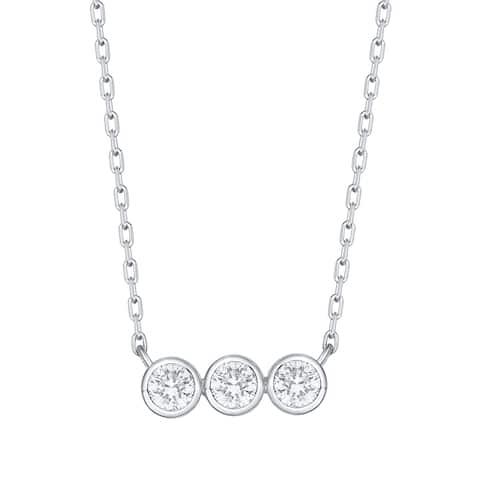 Smiling Rocks 0.25Ct G-H/VS1 Lab Grown Diamond Bezel Set 3-Stone Necklace