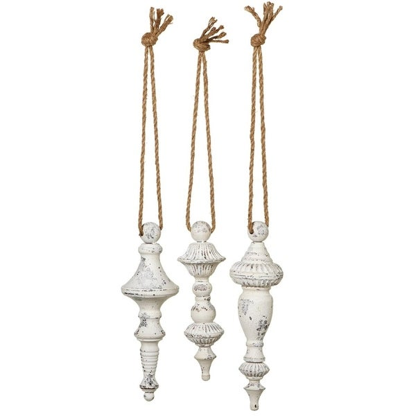 """Set of 3 Small Distressed White Three Assorted Hanging Finial Christmas Tree Ornaments 31"""""""