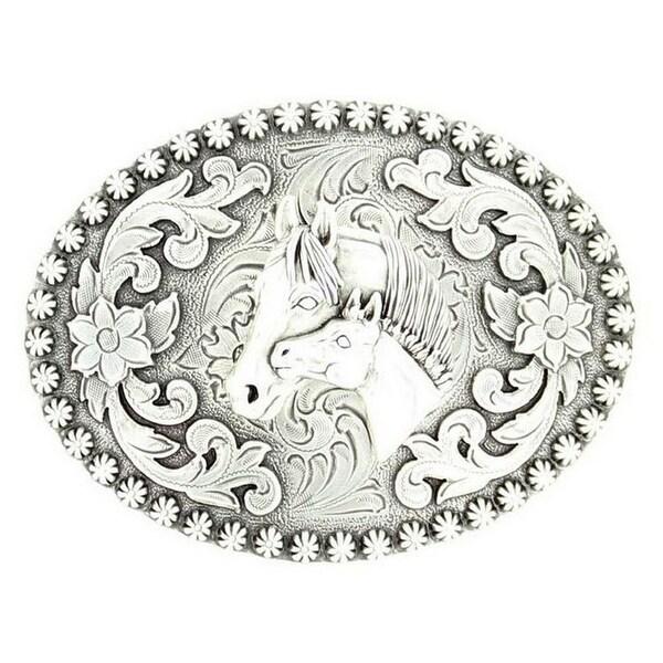 Nocona Western Belt Buckle Womens Mare Colt Silver - 2 3/4 x 4