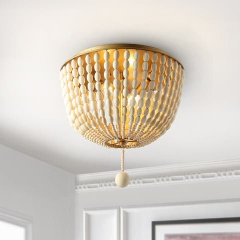 "SAFAVIEH Lighting Fidelma Boho Beaded 2-light LED Flush Mount - 13"" W x 13"" L x 12"" H"