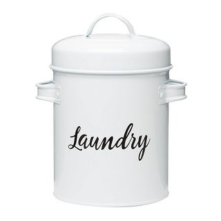 Amici Home Launderette Small Metal Storage Canister 64 oz. White