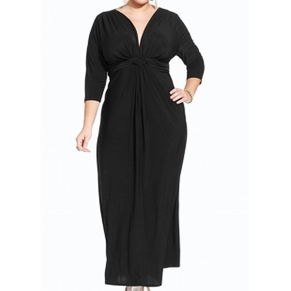 Love Squared Black Women Size 3X Plus Knotted 3/4 Sleeves Maxi Dress