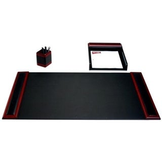 Dacasso D8037 Rosewood & Leather 3-Piece Desk Set