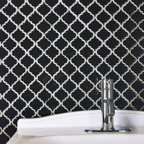 "SomerTile Hudson Tangier Glossy Black 12.38"" x 12.5"" Porcelain Mosaic Tile"