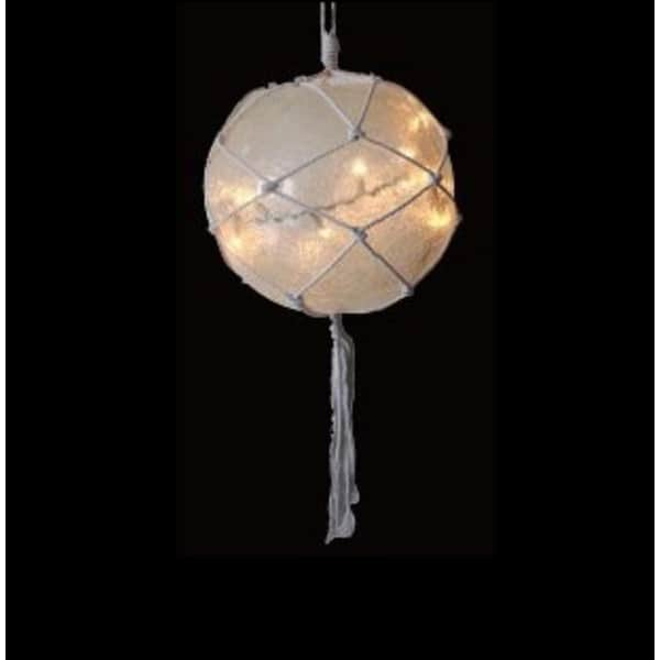 """14.4"""" Lighted Roped Off-White Ball Outdoor Christmas Decoration - Clear Lights"""