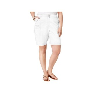 Karen Scott Womens Plus Cargo Shorts Comfort Fit Comfort Waist - Bright White (2 options available)