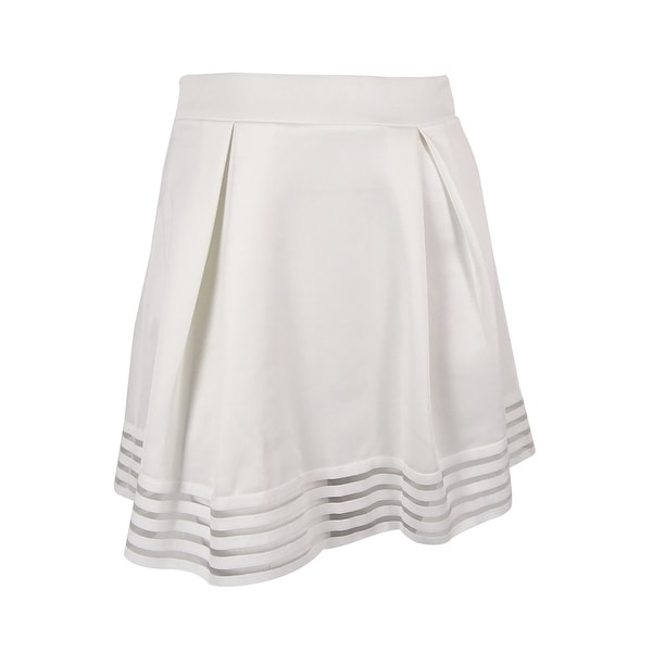 6a4b3bee6459 Shop Material Girl Juniors' Illusion-Stripe Skater Skirt - Egret - XL -  Free Shipping On Orders Over $45 - Overstock - 15966419