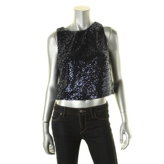Lauren Ralph Lauren Womens Honor Crop Top Sequined Stretch