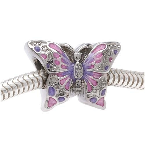 Silver Tone Two Sided Pink and Purple Butterfly - European Style Large Hole Bead (1)