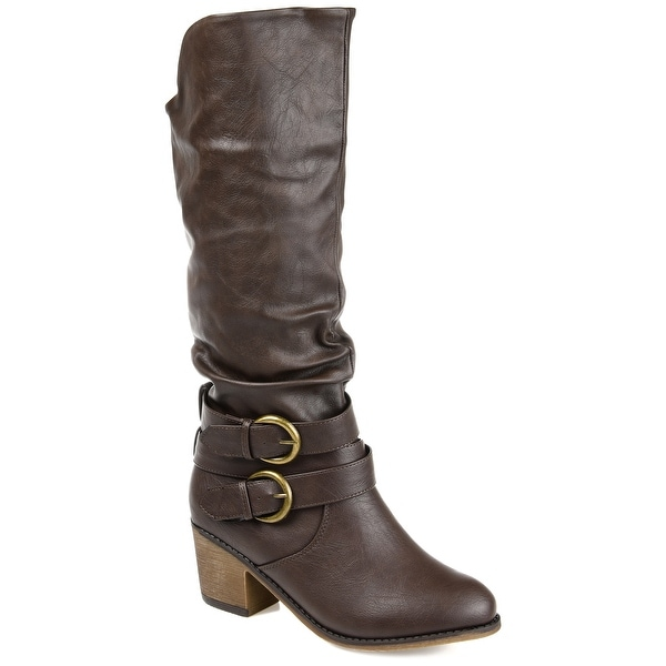 Journee Collection Women's 'Late' Buckle Slouch High Heel Boots. Opens flyout.