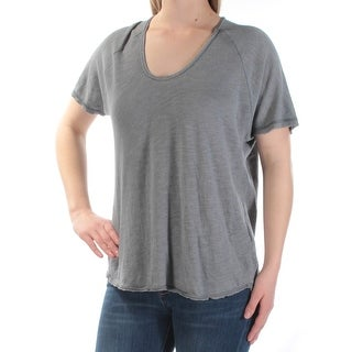 Womens Gray Short Sleeve Scoop Neck Casual T-Shirt Top Size S