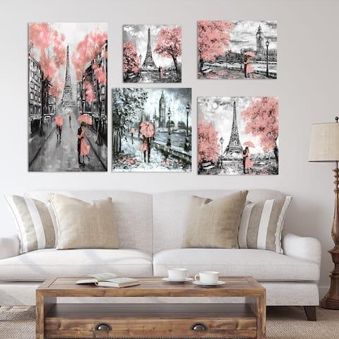 Designart - Paris London Collection (pink) - Traditional Wall Art set of 5 pieces - Pink