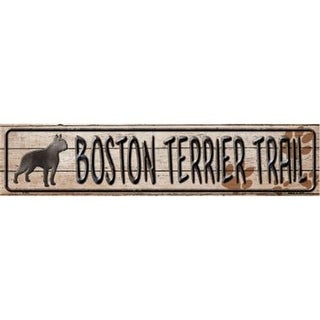 Smart Blonde K-043 Boston Terrier Trail Novelty Metal Mini Street Sign