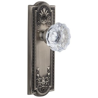 "Grandeur PARFON_PSG_234  Parthenon Solid Brass Rose Passage Door Knob Set with Fontainebleau Crystal Knob and 2-3/4"" Backset"