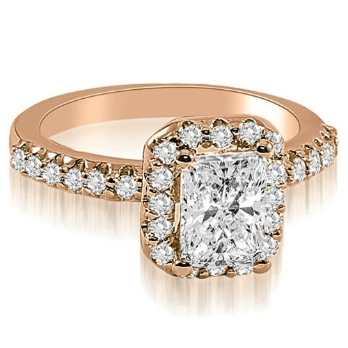 1.42 cttw. 14K Rose Gold Emerald Cut Halo Diamond Engagement Ring