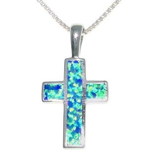 Sterling Silver Created Opal Cross Necklace