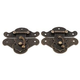 Metal Case Lock Carved Jewelry Retro Style Box Latch Hinge Bronze Tone 2 Sets